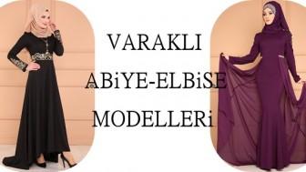 Varaklı Tesettür Abiye Elbise Modelleri