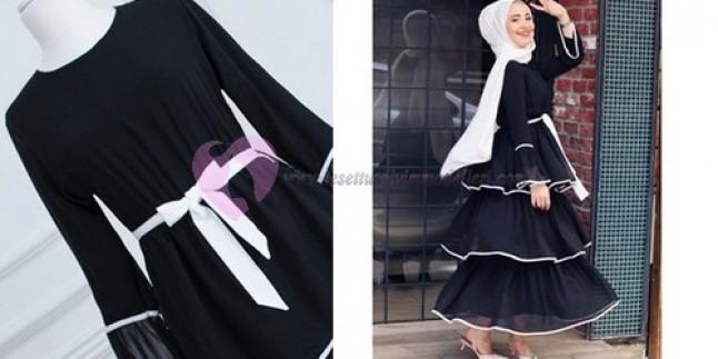 Tesettür Kat Kat Fırfırlı Elbise Modelleri