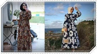 2020 Çiçekli Tesettür Elbise Modelleri