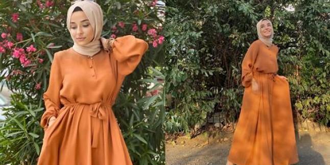 Tesettür Kemerli Elbise Modelleri 2021