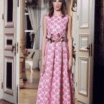 pembe güllü brokar elbise