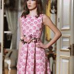 pembe güllü brokar elbise-2