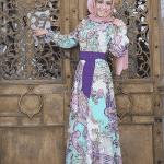 Pınar Şems Şal Desenli Mor Elbise