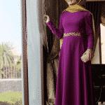 Pınar Şems Beli Nakışlı Fuşya Elbise