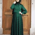 Pınar Şems - Dantelli Yeşil Verev Etek