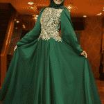 Pınar Şems - Yarasa Kollu Abiye Zümrüt