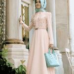 Deri Detaylı Elbise Somon