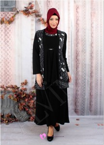 Alvina Büyük Beden Siyah Elbise
