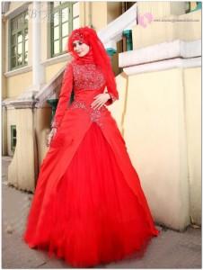 Kırmızı Tesettür Gelinlik Modelleri