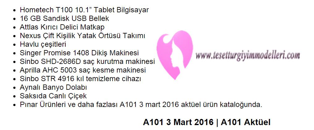 A101 3 Mart 2016 Kaçırılmayacak Fırsatlar