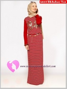 Çizgili Bordo Uzun Elbise