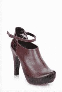 Kahverengi Deri Topuklu Ayakkabı