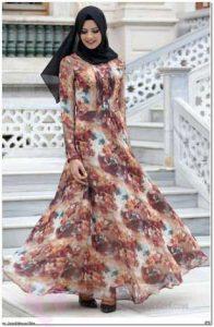 Çiçekli Tesettür Elbise