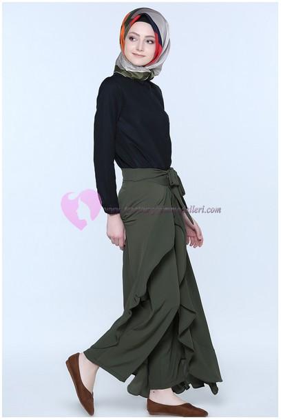 Tozlu Arkası Fermuarlı Pantolon Etek