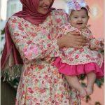 Anne Kız Çiçekli Elbise Kombini