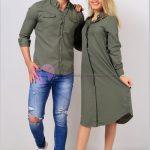 Gömlek Elbise Çift Kombini Yeşil