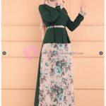 Çiçek İşlemeli Kuyruklu Tesettür Elbise Modelleri