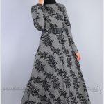 Çiçekli Tesettür Elbise Modelleri Gri