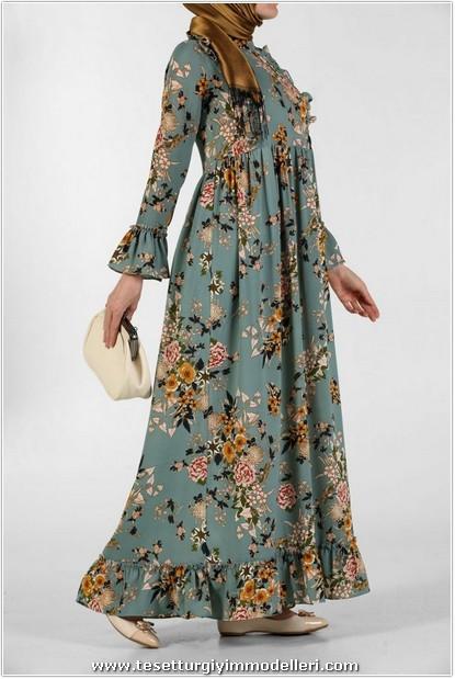 Kolları Volanlı Çiçekli Elbise Modelleri
