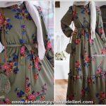 Muhafazakar Çiçekli Elbise Modelleri