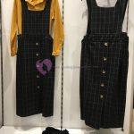 Önü Düğmeli Kareli Salopet Giyim