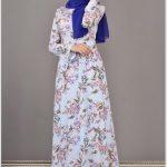 Pembe Çiçekli Tesettür Elbise Modelleri