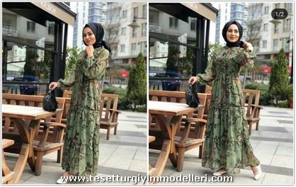 Yeşil Çiçekli Elbise Modelleri