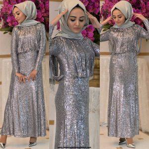 Tesettür Mezuniyet Elbise Modeli Gümüş