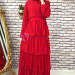 Kırmızı Tesettür Kat Kat Elbise