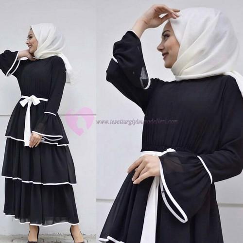 Siyah Beyaz Tesettür Kat Kat Elbise Modelleri