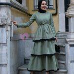 Tesettür Kat Kat Elbise Modelleri Yeşil