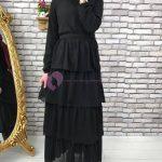 Tesettür Kat Kat Siyah Elbise