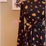 2019 Çiçek Desenli Tesettür Elbise Modelleri