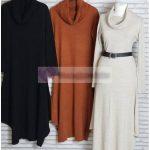Boğazlı Tesettür Triko Tunik Elbiseler