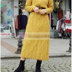 Limon Sarısı Tesettür Triko Elbise