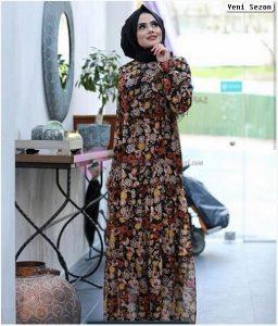 Tesettür Çiçekli Elbise Modelleri 2020