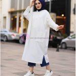 Tesettür Sweatshirt Modeli Beyaz