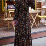 Uçları Fırfırlı Çiçekli Elbise