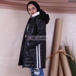 Çizgili Kısa Şişme Mont Modelleri Bayan