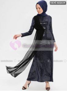 Puane Şifon Detaylı Abiye Elbise