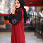 Siyah Kırmızı Tesettür Jile Elbise