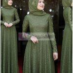 Tesettür Mezuniyet Elbise Modeli Yeşil