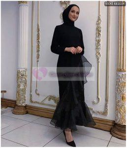 Tüllü Tesettür Mezuniyet Elbise Modeli