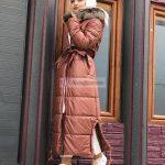 Yırtmaçlı Kürk Yakalı Şişme Mont Bayan