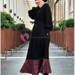 Etek Kısmı Ekoseli Uzun Elbise