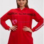 Kırmızı Uzun Tesettür Sweatshirt