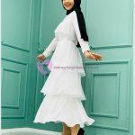 Fırfırlı Tesettür Mezuniyet Elbise Modelleri