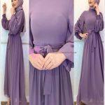 Lila Renk Renk Mezuniyet Elbisesi Tesettür