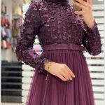 Mor Renk Tesettür Mezuniyet Elbisesi