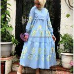 Çeşme Mavisi Tesettür Elbise